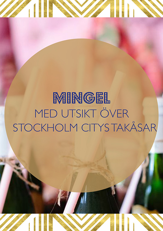 Champagemingel med utsikt över Stockholm citys takåsar
